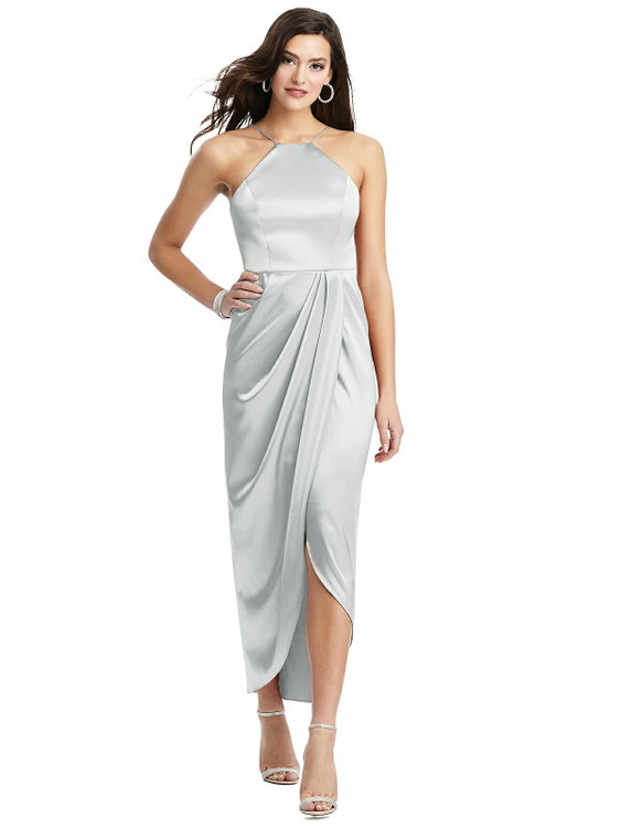 Halter Midi Dress with Draped Tulip Skirt style 6829 available in 37 colors