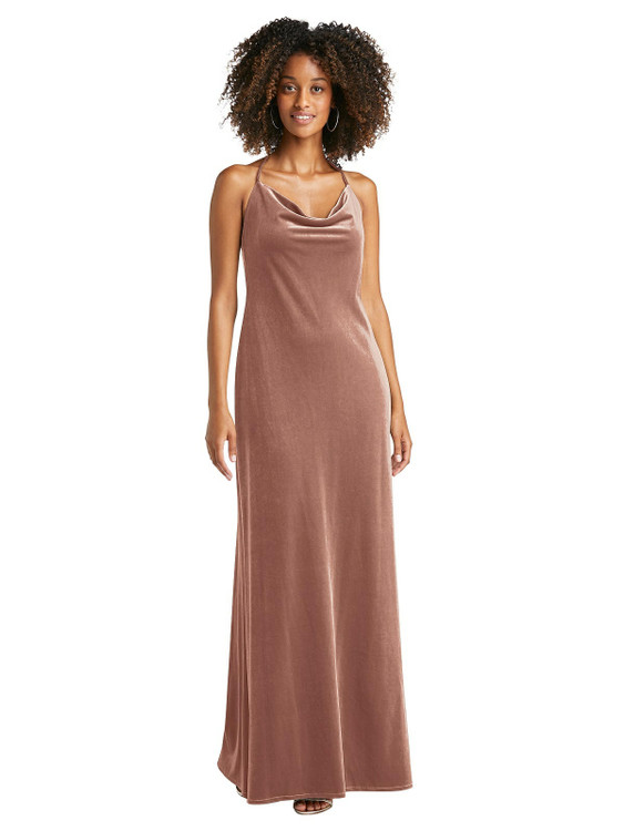 Cowl-Neck Convertible Velvet Maxi Slip Dress - Sloan by Lovely LB019 in 8 colors