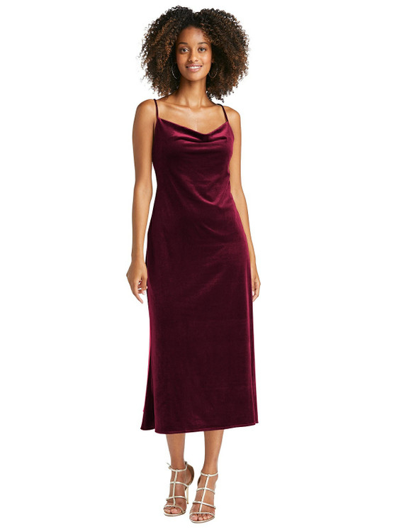 Cowl-Neck Convertible Velvet Midi Slip Dress - Isa by Lovely LB020 in 8 colors