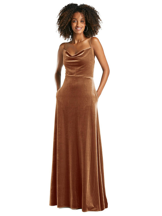 Cowl-Neck Velvet Maxi Dress with Pockets by After Six 1541 in 8 colors in Golden Almond