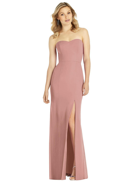 Strapless Chiffon Trumpet Gown with Front Slit by After Six 6803 in 8 colors desert rose