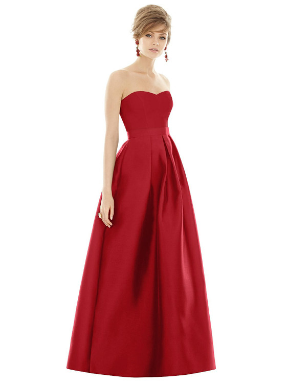 Strapless Pleated Skirt Maxi Dress with Pockets by Alfred Sung D755 in 36 colors in garnet