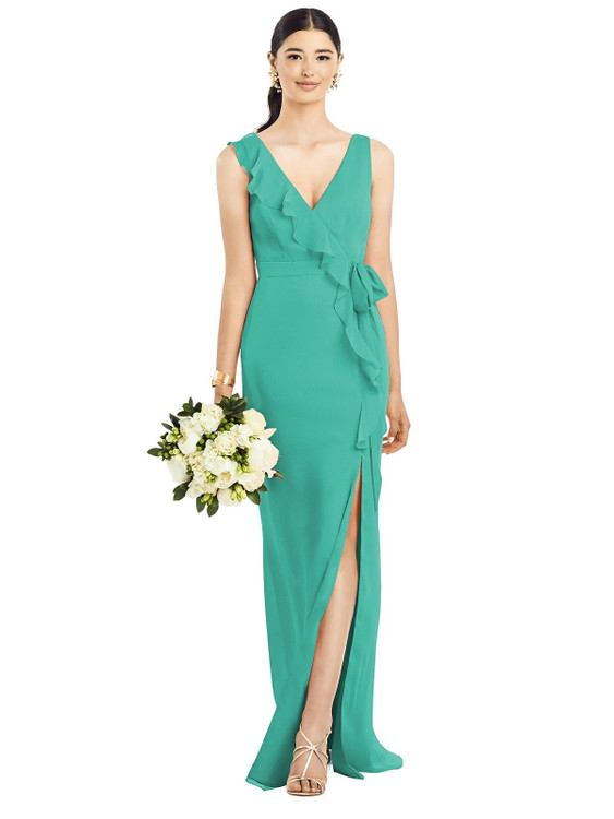 Sleeveless Ruffled Wrap Chiffon Gown by  After Six 1528 in 30 colors