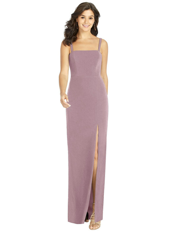 Flat Strap Stretch Mermaid Dress with Front Slit by Thread Bridesmaid Style TH002 in 6 colors in dusty rose