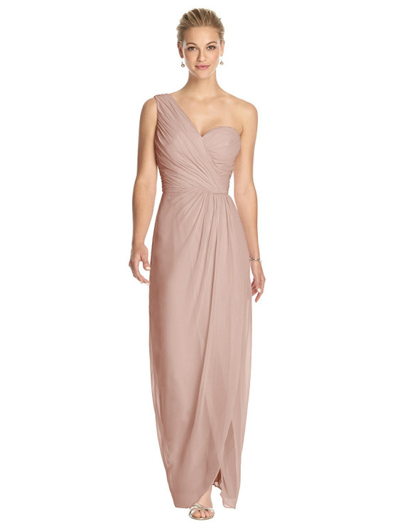 One-Shoulder Draped Maxi Dress with Front Slit - Aeryn by Thread Bridesmaid Style TH027 in 61 colors
