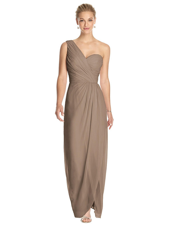 One-Shoulder Draped Maxi Dress with Front Slit - Aeryn by Thread Bridesmaid Style TH027 in 61 colors in Topaz