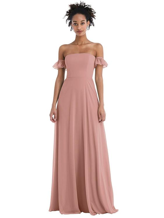 Off-the-Shoulder Ruffle Cuff Sleeve Chiffon Maxi Dress Thread Bridesmaid Style TH046