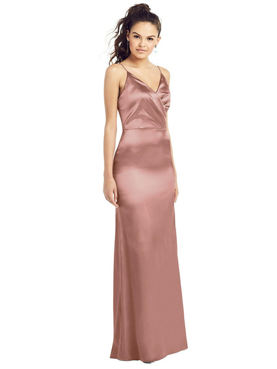 Slim Spaghetti Strap Wrap Bodice Trumpet Gown by Thread Bridesmaid Style TH022 in 35 colors