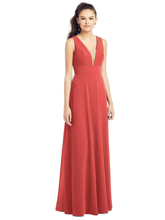 Adjustable Strap Illusion Neck Chiffon Gown by Thread Bridesmaid Style TH019 in 36 colors