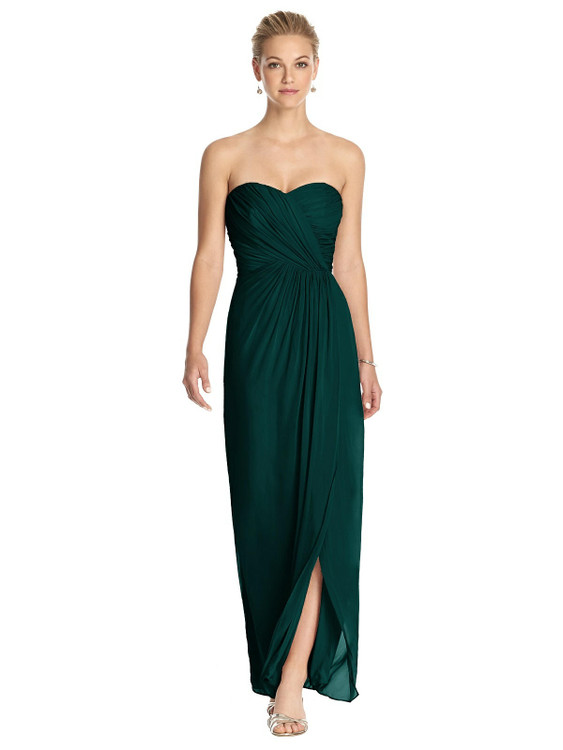 Strapless Draped Chiffon Maxi Dress - Lila by Thread Bridesmaid Style TH034 in 61 colors in evergreen