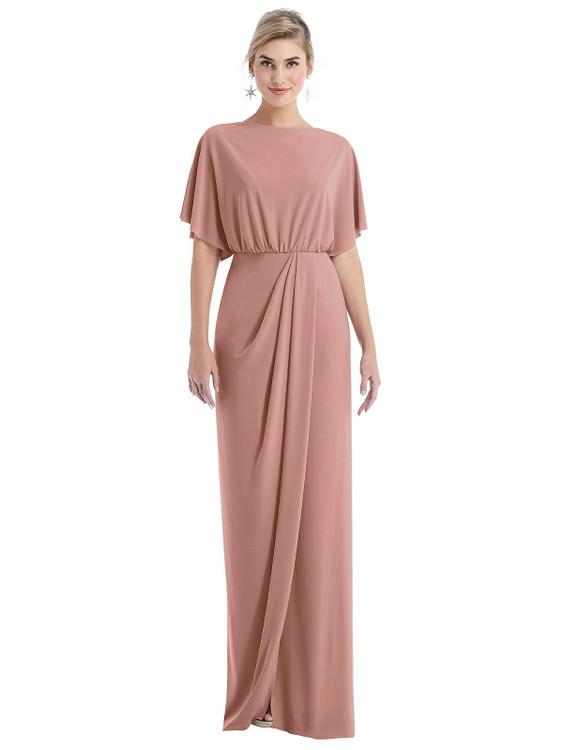 Open-Back Three-Quarter Sleeve Draped Tulip Skirt Maxi Dress Thread Bridesmaid Style TH045 in desert rose