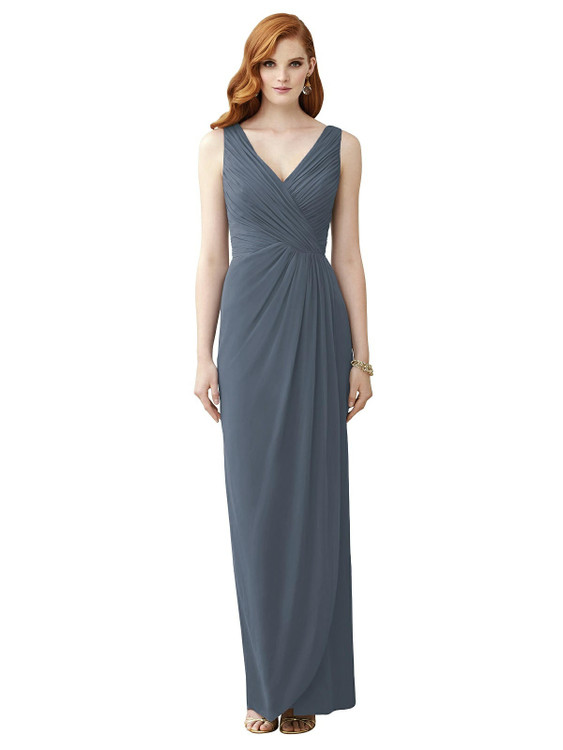 Sleeveless Draped Faux Wrap Maxi Dress - Dahlia Thread Bridesmaid Style TH030 in 64 colors in Silverstone