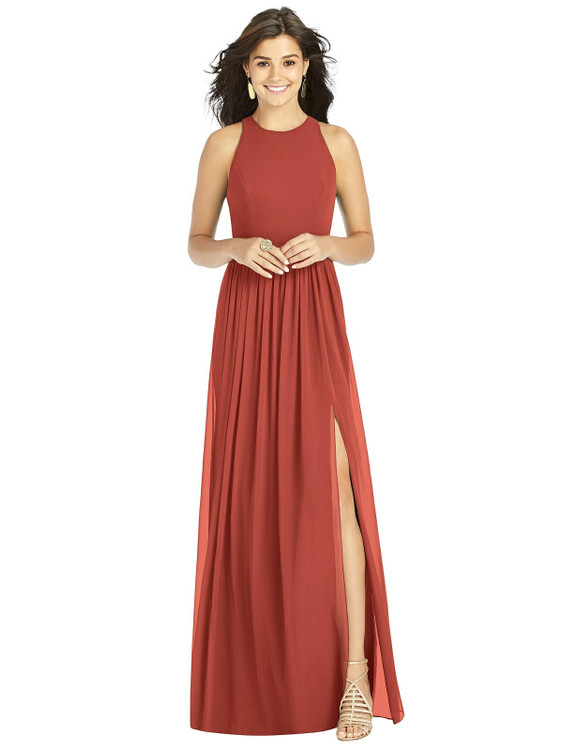 Shirred Skirt Halter Dress with Front Slit Thread Bridesmaid Style TH008