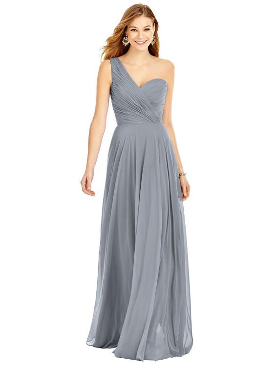 One-Shoulder Draped Chiffon Maxi Dress - Dani Thread Bridesmaid Style TH025 in 64 colors in Platinum