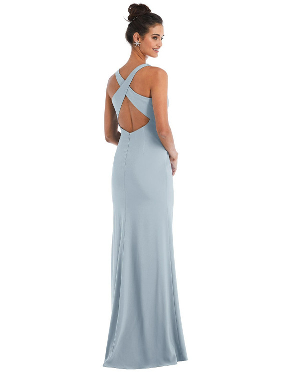 Criss-Cross Cutout Back Maxi Dress with Front Slit Thread Bridesmaid Style TH050