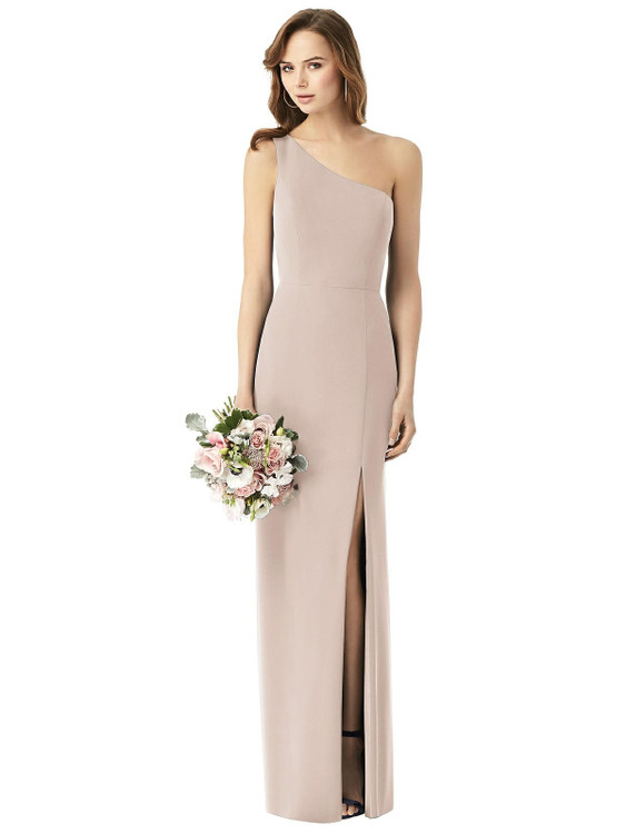 One-Shoulder Chiffon Trumpet Gown Thread Bridesmaid Style TH014  in 64 colors in Cameo