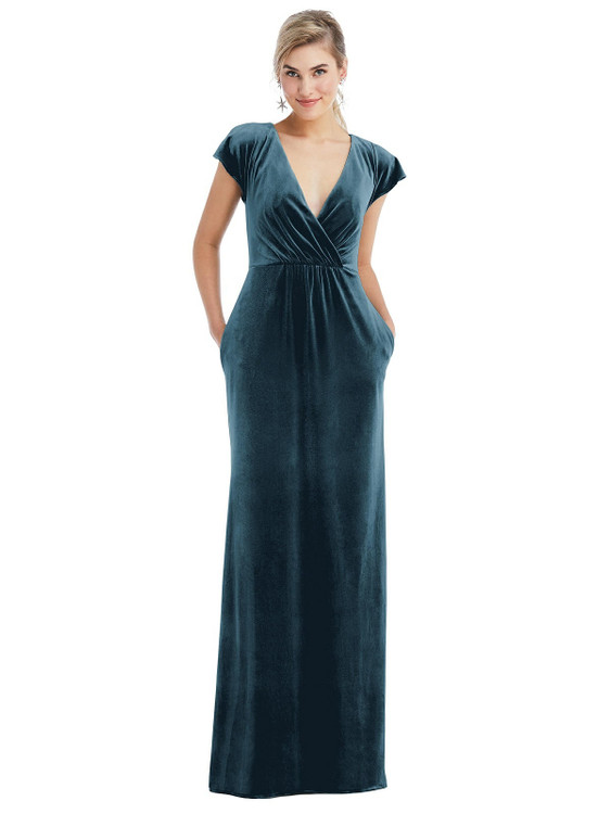 Flutter Sleeve Wrap Bodice Velvet Maxi Dress with Pockets Thread Bridesmaid Style TH057