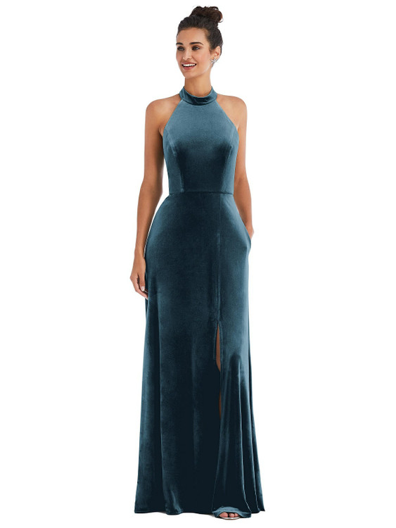 High-Neck Halter Velvet Maxi Dress with Front Slit Thread Bridesmaid Style TH055