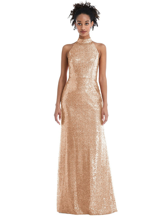 Stand Collar Halter Sequin Trumpet Gown by Thread Bridesmaid Style TH054  in 5 colors