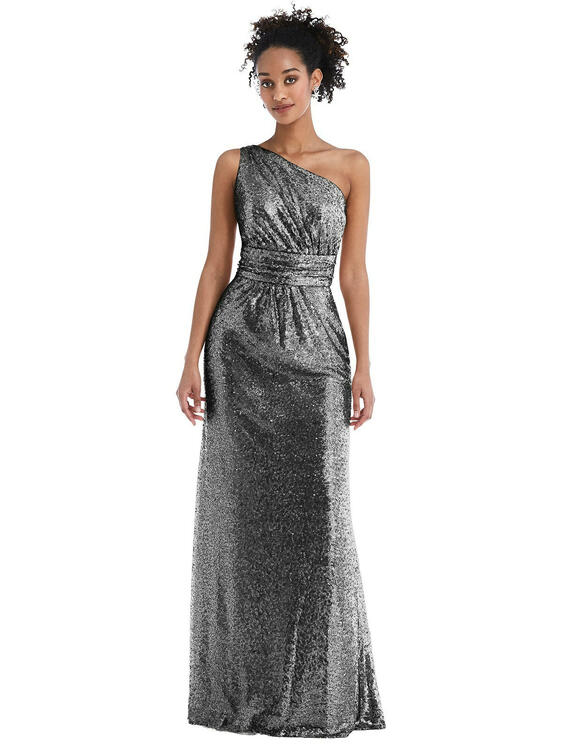 One-Shoulder Draped Sequin Maxi Dress by Thread Bridesmaid Style TH058  in 7 colors in Stardust