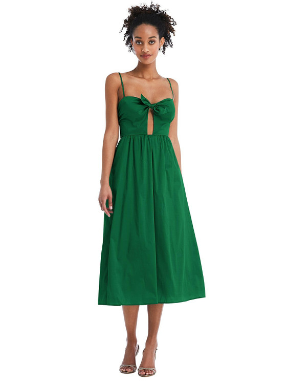 Bow-Tie Cutout Bodice Midi Dress with Pockets by Thread Bridesmaid Style TH070 in 28 colors pinegreen