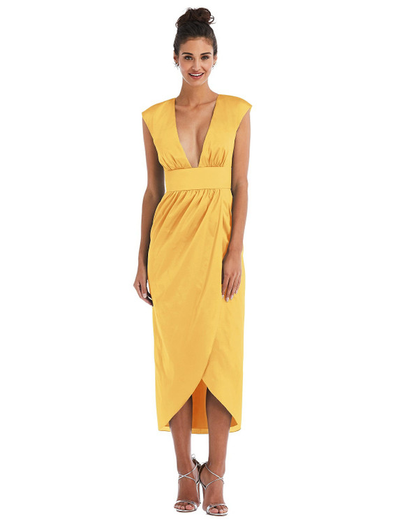 Open-Neck Tulip Skirt Madi Dress by Thread Bridesmaid Style TH071 in 28 colors in mango