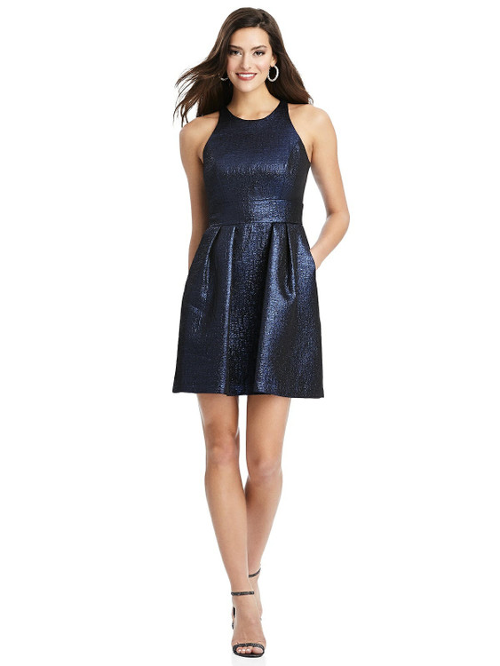 Metallic Halter Cocktail Dress with Pockets by Thread Bridesmaid Style TH023 in 4 colors in blue moon