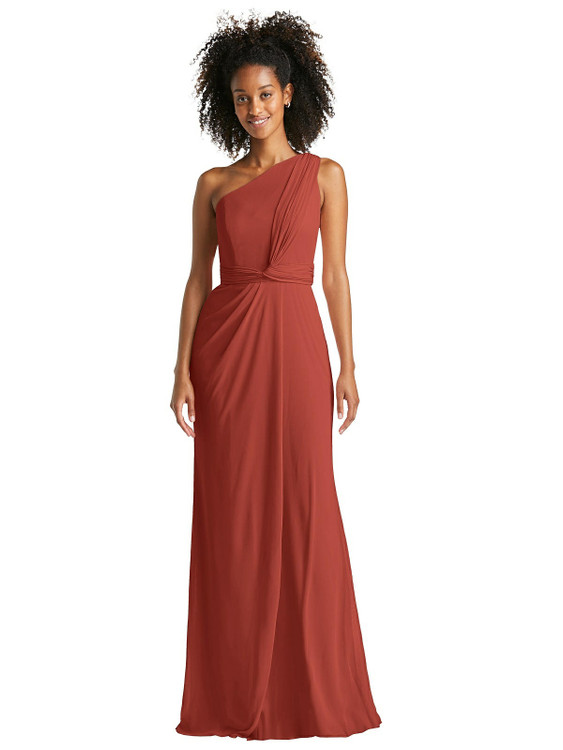 One-Shoulder Draped Chiffon Trumpet Gown by Jenny Packham Dress JP1044 in 64 colors in Amber sunset