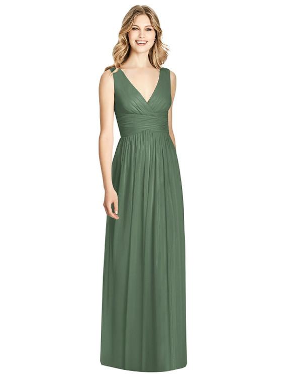 Sleeveless Criss Cross Shirred Maxi Dress by Jenny Packham Dress JP1004 in 64 colors in vineyard green