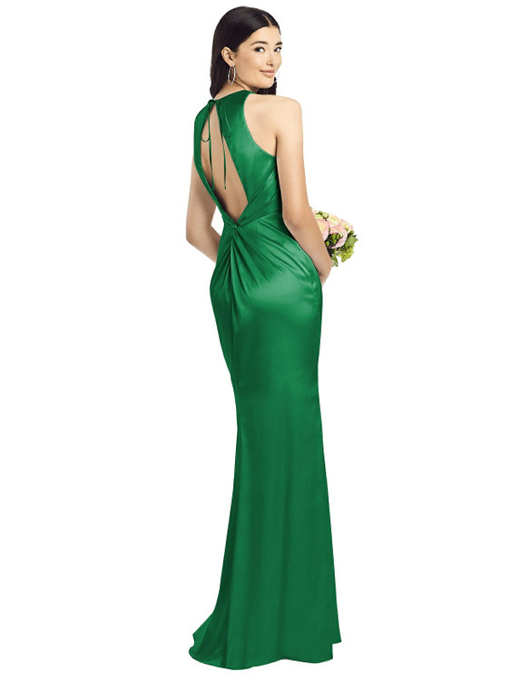 Sleeveless Open Twist-Back Maxi Dress By Social Bridesmaid 8200 in 37 colors in Shamrock