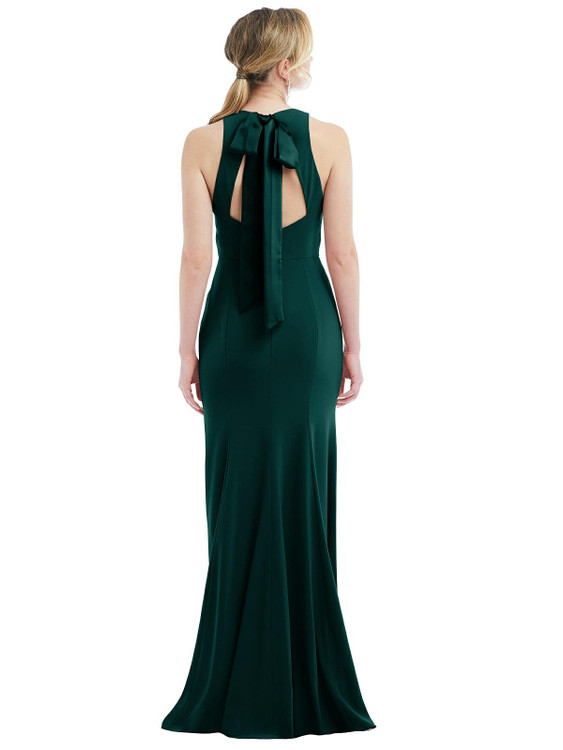 Cutout Open-Back Halter Maxi Dress with Scarf Tie by Dessy Bridesmaid 3084 in 35 colors