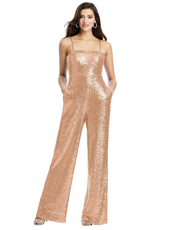 Sequin Jumpsuit with Pockets - Alexis by Dessy Bridesmaid 3048 in 7 colors in copper rose