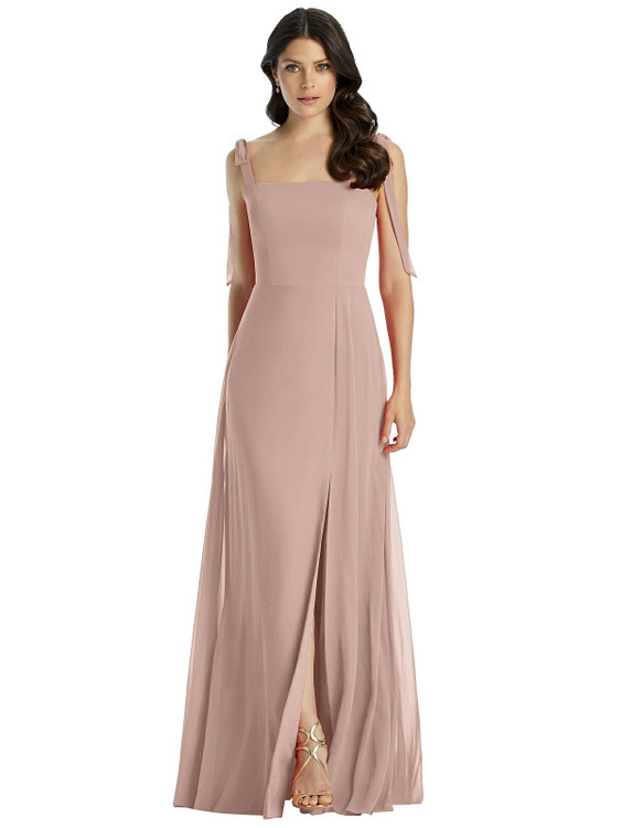 Tie Strap Chiffon Gown with Front Slit by Dessy Bridesmaid 3042 in 63colors