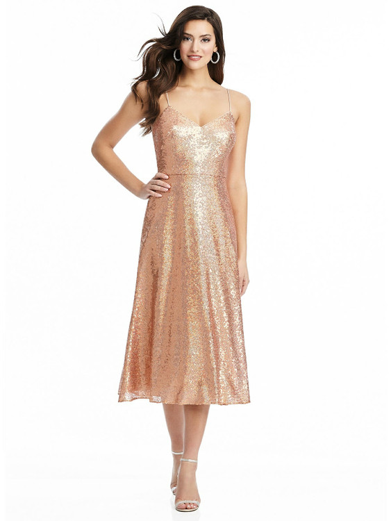 Spaghetti Strap Flared Skirt Sequin Midi Dress By Dessy Bridesmaid 3067 in 7 colors