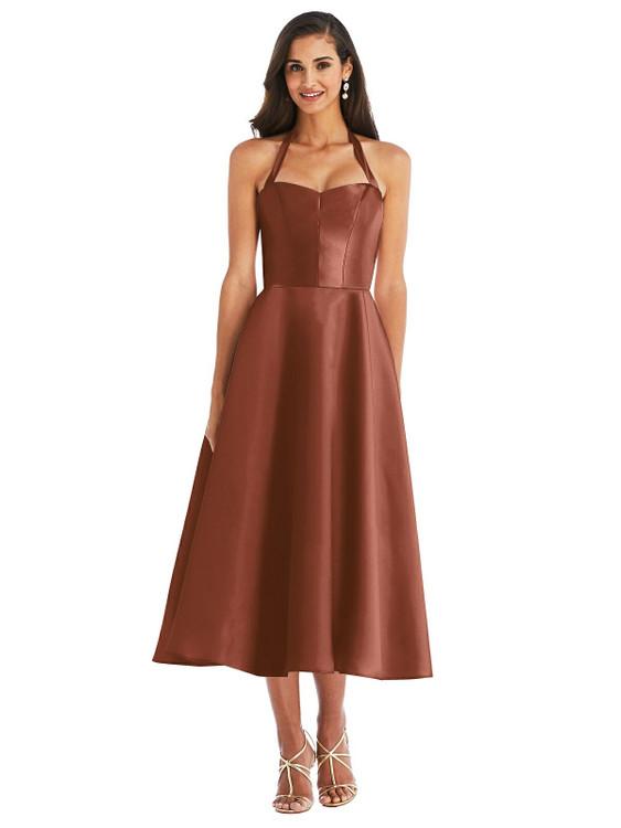 Tie-Neck Halter Full Skirt Satin Midi Dress D800 by Alfred Sung