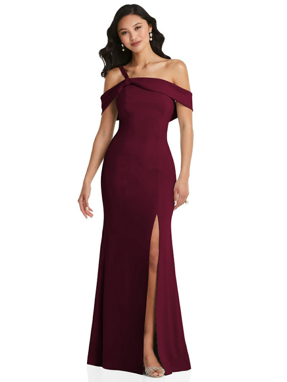 One-Shoulder Draped Cuff Maxi Dress with Front Slit After Six Style 6847 in 35 colors