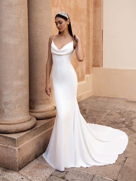 Antiope Sleeveless Crepe Mermaid Bridal Gown by Pronovias