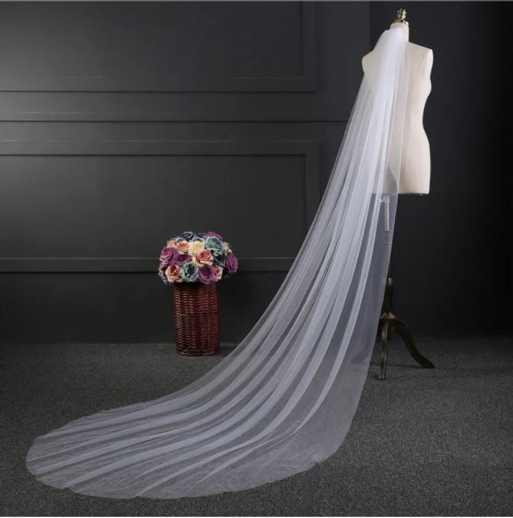 long plain cathedral bridal veil