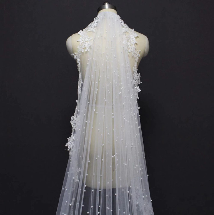 Pearl and Lace Applique Veil 3.5M