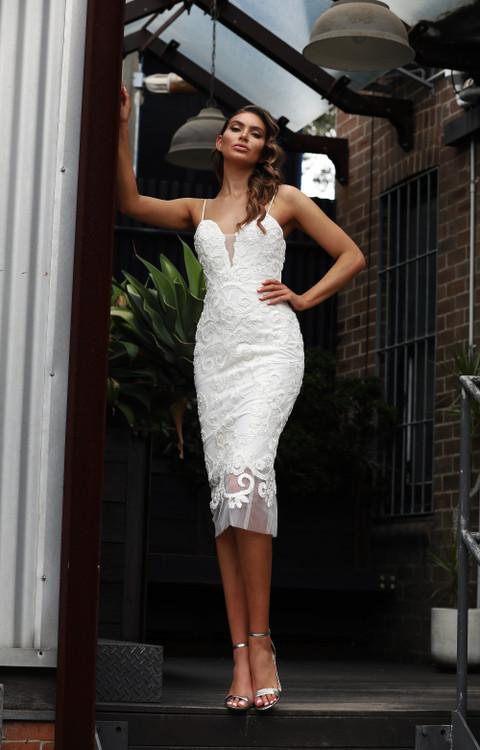 Gretta JX3081 Dress by Jadore Evening in Ivory size 8