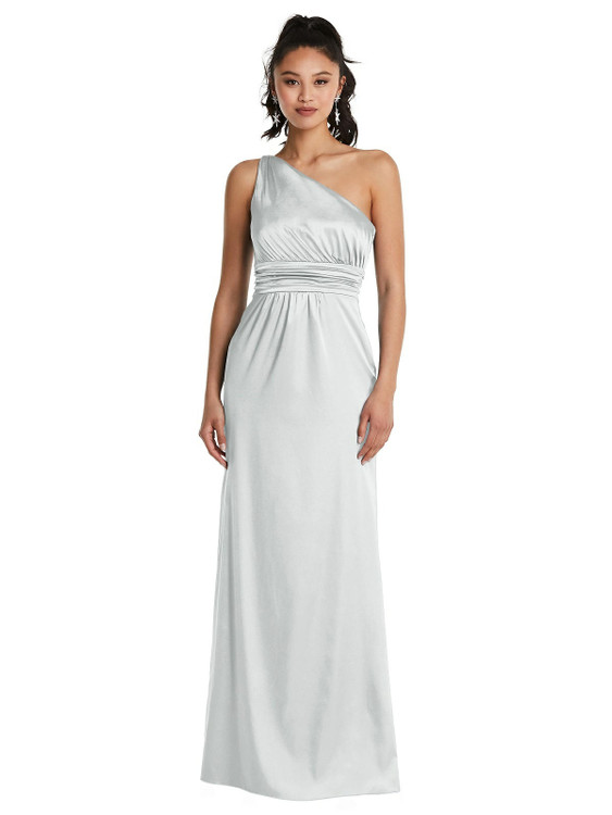One-Shoulder Draped Satin Maxi Dress TH063 By Thread Bridesmaids in 32 colors