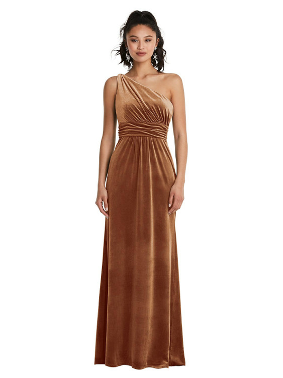 One-Shoulder Draped Velvet Maxi Dress TH059 By Thread Bridesmaids in 9 colors