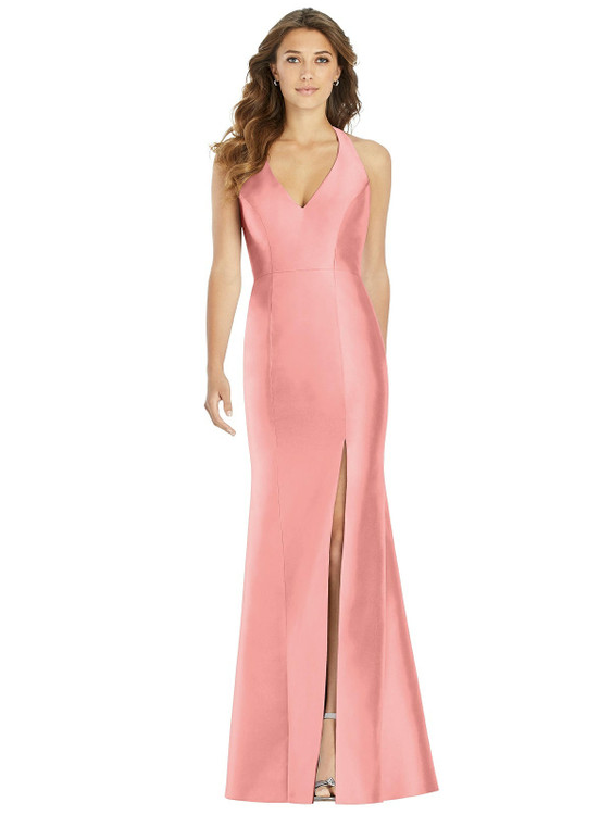 V-Neck Halter Satin Trumpet Gown By Alfred Sung D761 in 36 colors in apricot