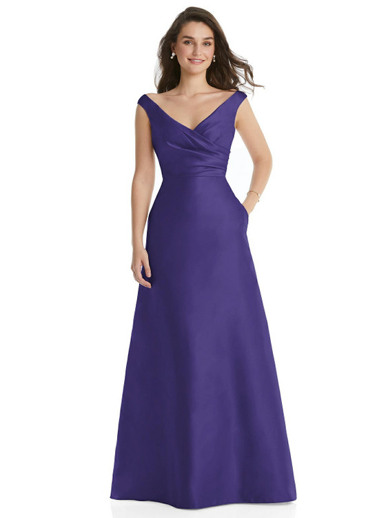 Off-the-Shoulder Draped Wrap Maxi Dress with Pockets By Alfred Sung D817 in 36 colors in grape