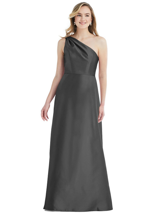 Pleated Draped One-Shoulder Satin Maxi Dress with Pockets By Alfred Sung D821 in 36 colors in pewter