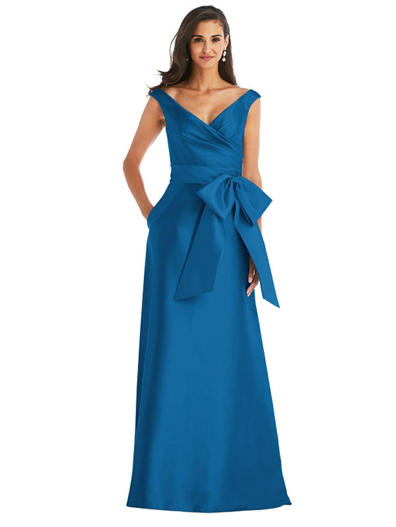 Off-the-Shoulder Bow-Waist Maxi Dress with Pockets By Alfred Sung D802 in 36 colors in classic blue
