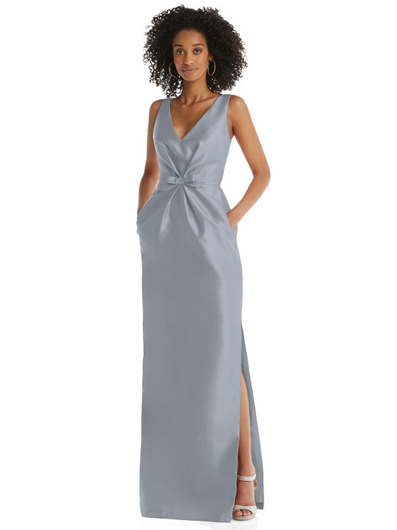 Pleated Bodice Satin Maxi Pencil Dress with Bow Detail By Alfred Sung D810 in 36 colors in Platinum