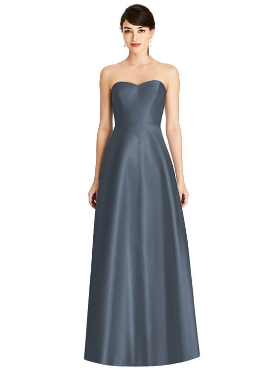 Strapless A-Line Satin Dress with Pockets By Alfred Sung D803 in 36 colors