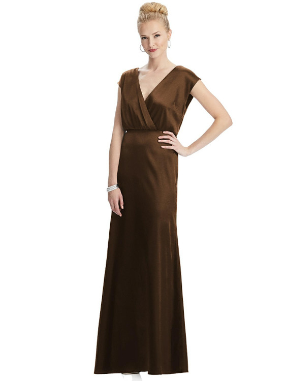 Cap Sleeve Blouson Faux Wrap Dress by Dessy Bridesmaid style 3050 available in 33 colos