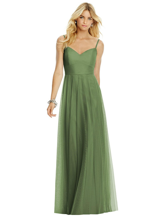 Sweetheart Spaghetti Strap Tulle Dress by After Six Bridesmaid style 6766 available in 15 colors in Clover